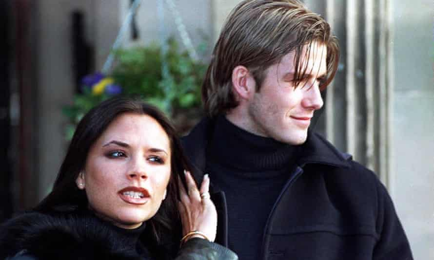 Victoria and David Beckham announce their engagement in 1998