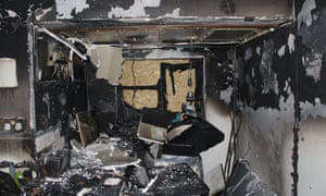 Rebecca Burston's kitchen after a fire which started in her Hotpoint tumble dryer.