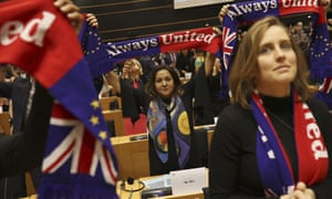 British MEP's holding up 'Always United' scarves during a ceremony prior to the vote on the UK's withdrawal from the EU.