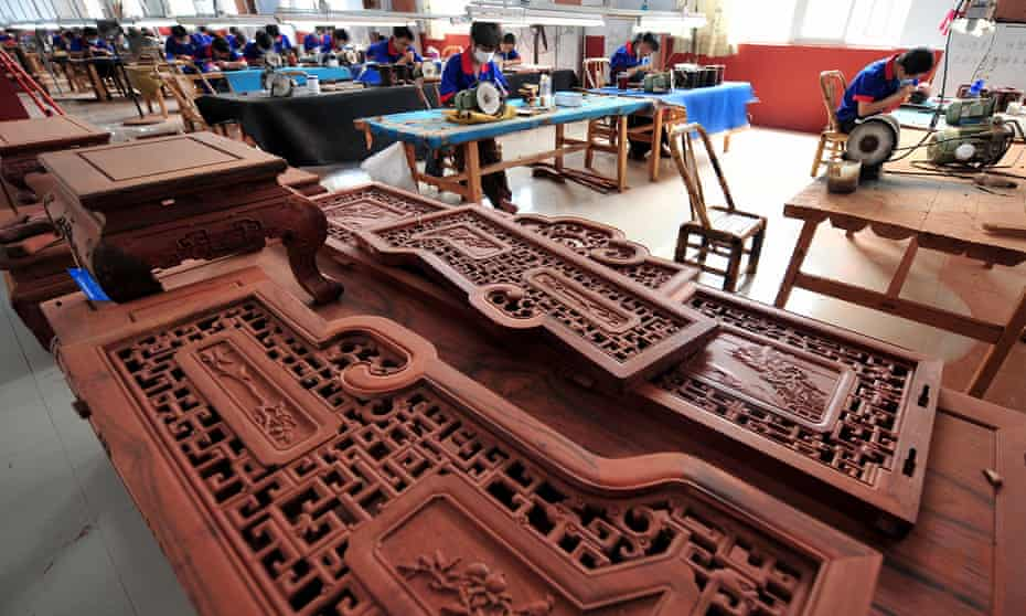 Rosewood used in classic-style 'hongmu' furniture in China