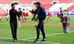 Arsenal manager Mikel Arteta (left) and Chelsea manager Frank Lampard greet each other.