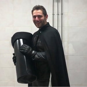 Comedian Jon Harvey dressed as Lord Buckethead in Maidenhead leisure centre on the night of the 2017 general election.
