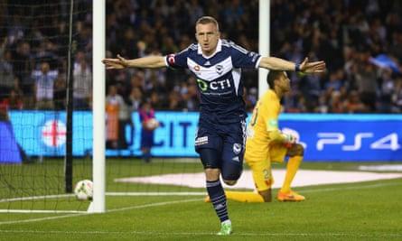 Besart Berisha celebrates after scoring Melbourne Victory's opening goal against Melbourne City at Etihad Stadium Friday