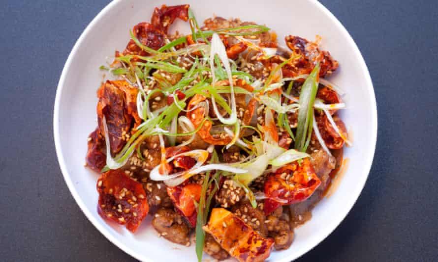 Mr Ji restaurant, Old Compton Street, Soho, for Jay Rayner's restaurant review, OM, 22/04/2021. Sophia Evans for The Observer Chilli chicken