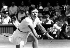Sport. All England Lawn Tennis Championships. Wimbledon, London, England. 5th July 1969. Ladies Singles Final. USA's Billie Jean King is pictured in action on Centre court as she is beaten by Ann Jones of Great Britain 3-6, 6-3, 6-2.