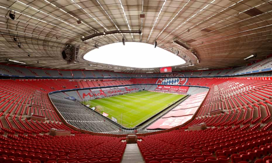 A fan's-eye-view of the pitch at the Football Arena Munich