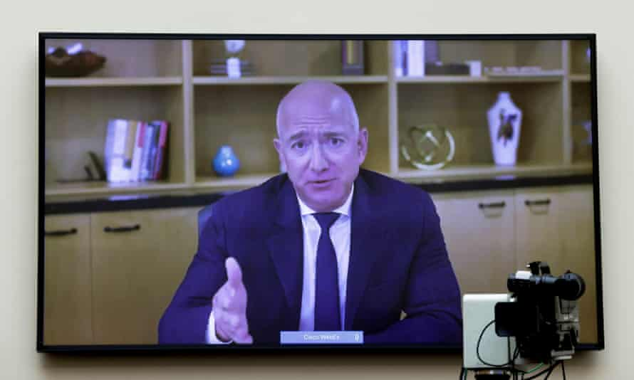 Jeff Bezos testifies via video conference during hearing.