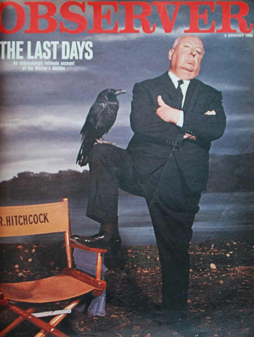 'His mind was beginning to roam': Alfred Hitchcock on the cover of the Observer Magazine in August 1982