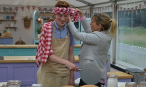 Engineers are my favourite kind of Bake Off contestant … Andrew gets dressed up by Mel.