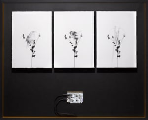 Put your hand near the electric ink on Albarn's interactive triptych archive box to activate the sound.