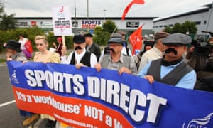 Unite union members dressed as Dickensian workers protest against zero-hours contracts outside Sports Direct's Shirebrook warehouse in September.