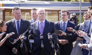 Scott Morrison faces the media in Melbourne on Friday