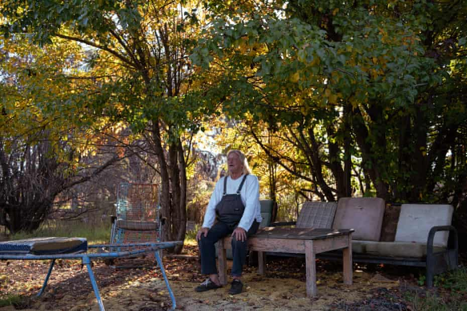 Col Faulker, 68, over 40-year resident of Wollar, NSW sitting by the creek a short walking distance from his home. A town now predomintaly owned by American coal-mining company Peabody.