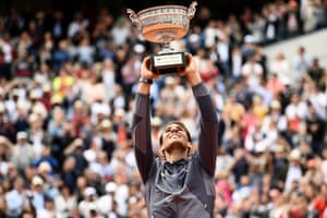 Rafael Nadal lifts the Mousquetaires Cup as French Open Champion 2019.