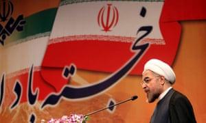 President Rouhani speaking in Tehran, 2013.