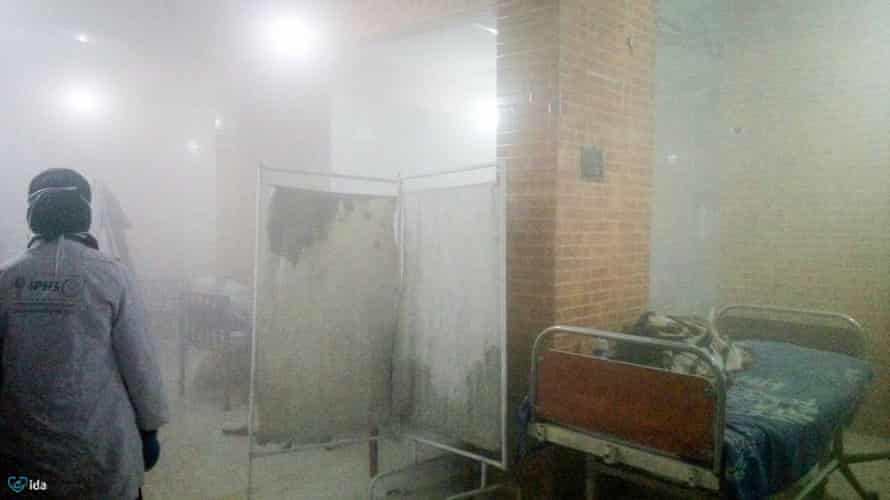 A medic inside the children's hospital as it came under attack.