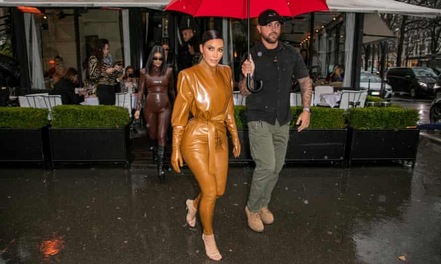 Kim Kardashian West wearing a latex bodysuit in Paris.