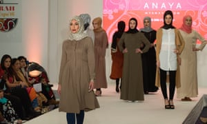 A catwalk show at the Saverah expo in London this year – a fashion, lifestyle and networking event billed as Muslim women's 'ultimate day out'.
