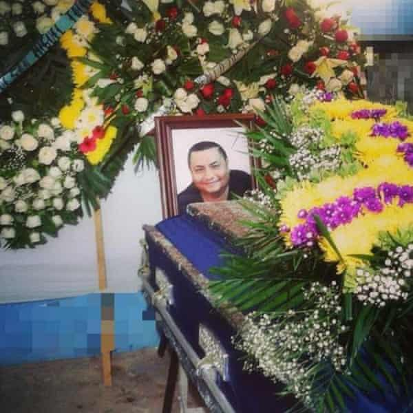 A picture of Pineda is displayed on his coffin