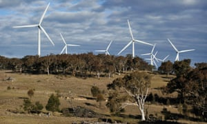Wind turbines at the Capital Wind Farm, operated by Infigen Energy, in Bungendore, NSW. Investment in large-scale renewable energy has slumped 90% over the past year amid uncertainty about the target.