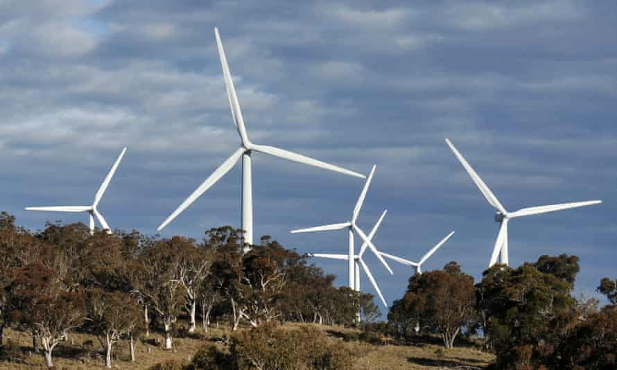Wind farm turbines in New South Wales