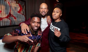 DJ R-Tistic, Common, and Lena Waithe at the premiere of The Chi