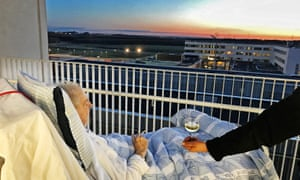 Carsten Flemming Hansen watches the sun go down from his hospital bed in Denmark