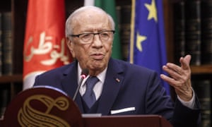Beji Caid Essebsi giving a press conference in Rome in 2017.
