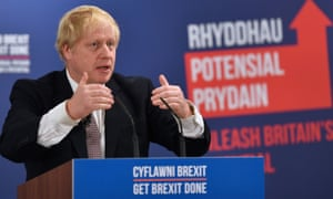 Boris Johnson at the launch of the Conservative party Welsh manifesto in Wrexham.