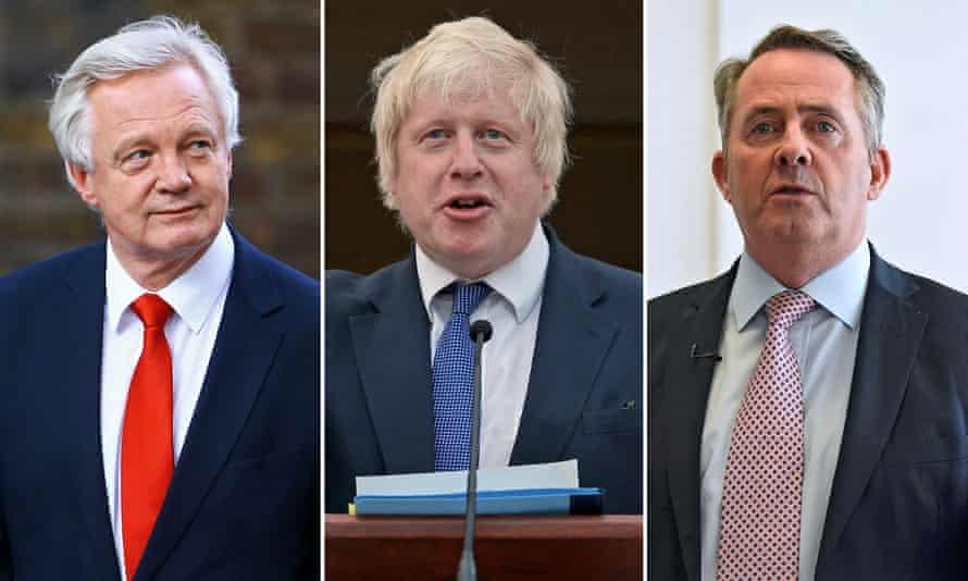 Tory Brexiters David Davis, Boris Johnson and Liam Fox.