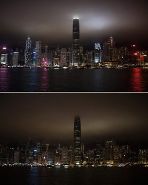The Victoria Harbour before (top) and after (bottom) its lights went out for the Earth Hour environmental campaign in Hong Kong.