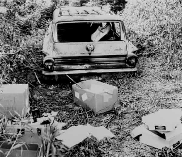The burned station wagon of three missing civil rights workers - Michael Schwerner, Andrew Goodman, and James Chaney is found in a swampy area near Philadelphia, Miss., June 24, 1964.