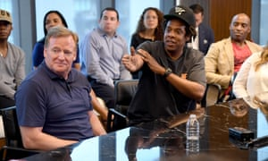 The NFL commissioner, Roger Goodell, with Jay Z, founder of the entertainment company Roc Nation.