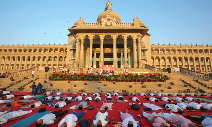 Yogis in front of the Vidhana Soudha in Bangalore.