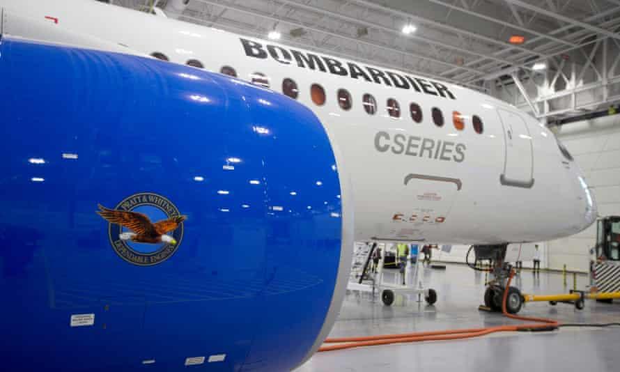 A Bombardier CS300 jet