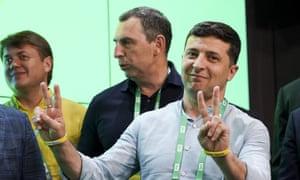 The Ukrainian president, comedian Volodymyr Zelenskiy, right.