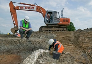 Commercial archaeologists working on the Channel Tunnel Rail Link.