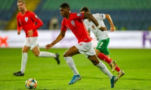 Manchester United's Marcus Rashford on the ball for England during their match against Bulgaria in Sofia, which was twice stopped because of racist abuse from the crowd.