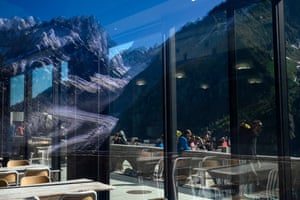 The Mer de Glace is reflected in the window of a bar near the train station