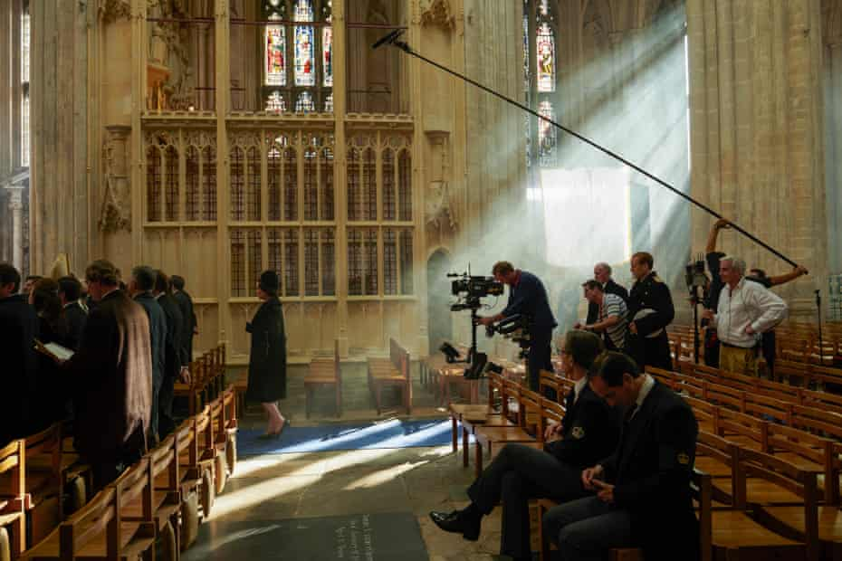 Olivia Colman (centre) on the set of Churchill's funeral in The Crown season three