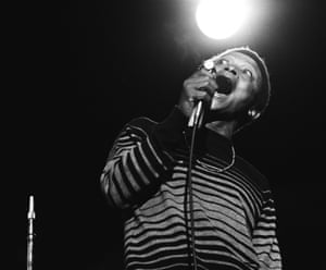 Hugh Masekela performs on stage at the Monterey Pop Festival in California, June 1967