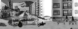 A still from Emir Cerimovic's game on the seige of Sarajevo, Saragame