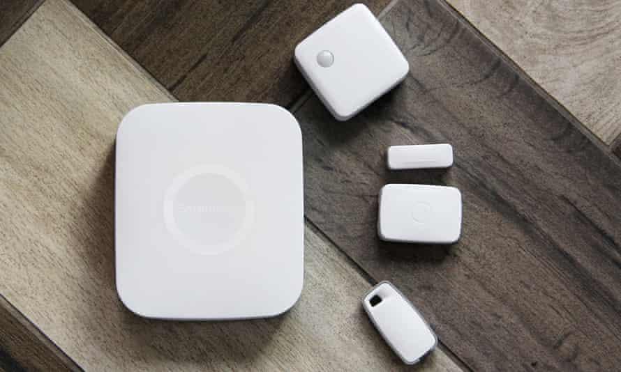 Samsung SmartThings Hub and sensors.