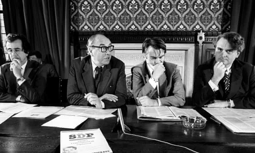 Bill Rogers, Roy Jenkins, David Owen and Robert Maclennan at a conference to launch the party's draft constitution.