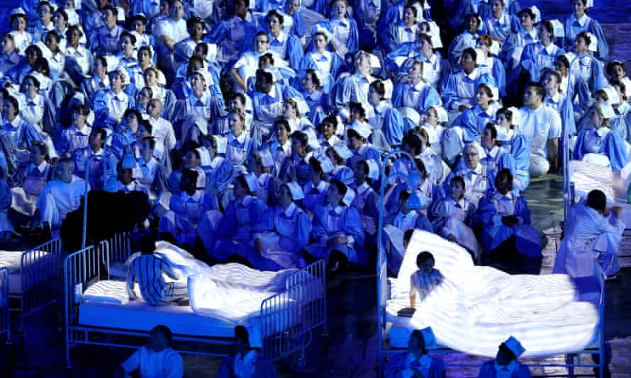 The NHS, depicted at the opening ceremony of the London 2012 Olympics.
