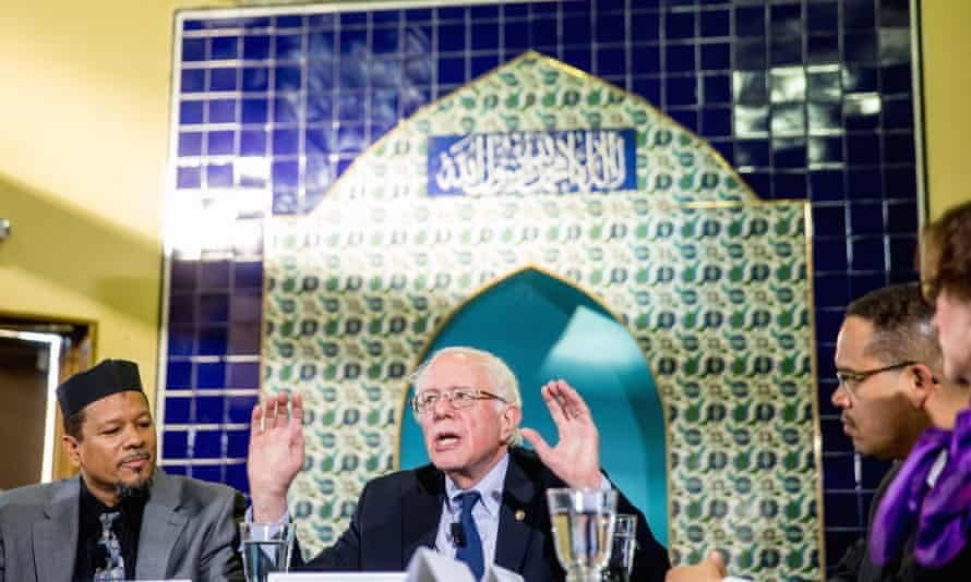 Democratic presidential candidate Bernie Sanders speaks during an interfaith roundtable discussion on standing up to anti-Muslim rhetoric.