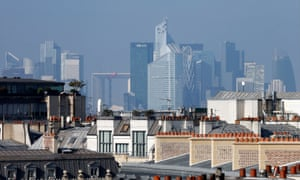 The skyline of La Defense business district in Paris, France.