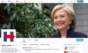 Hillary Clinton's new logo is pictured in this 12 April 2015 screen capture from her Twitter page. The logo's alleged symbolism has proved fertile ground for commentators on social media.