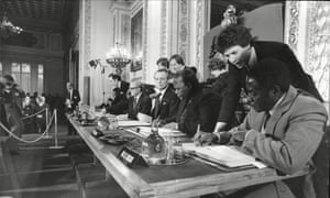 Robert Mugabe signs the Lancaster House peace agreement in 1979, which allowed for the creation and recognition of Zimbabwe.