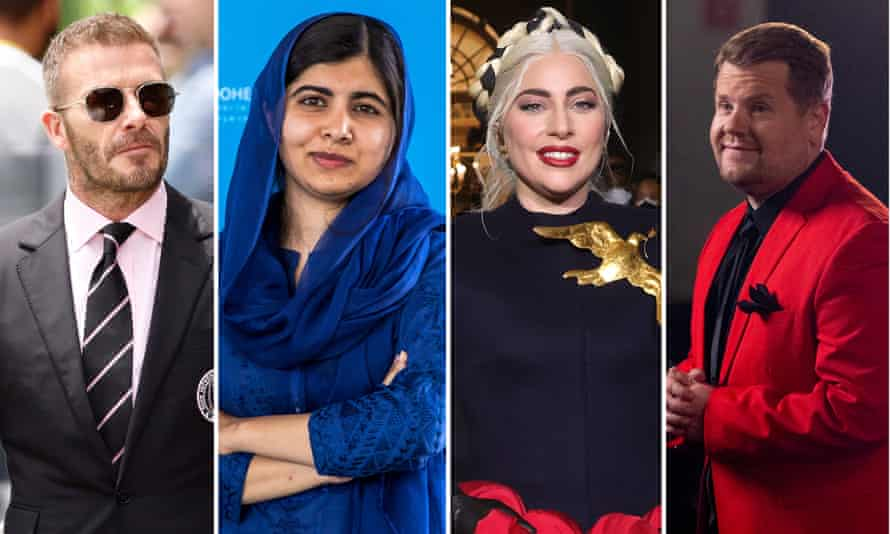 David Beckham, Malala Yousafzai, Lady Gaga and James Corden